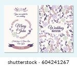 purple wedding invitation ... | Shutterstock .eps vector #604241267