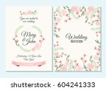 pink and green pastel wedding... | Shutterstock .eps vector #604241333
