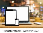 laptop smartphone and tablet... | Shutterstock . vector #604244267