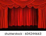 red curtains and wooden stage... | Shutterstock . vector #604244663