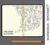vector notebooks with pencil... | Shutterstock .eps vector #604246877