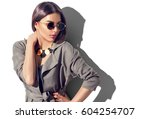 beauty fashion brunette model... | Shutterstock . vector #604254707