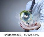 globe  earth in human hand ...   Shutterstock . vector #604264247