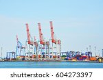 port cargo crane and container  ... | Shutterstock . vector #604273397