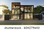 3d rendering black loft modern