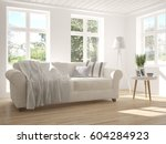 white room with sofa and green... | Shutterstock . vector #604284923