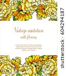invitation with floral... | Shutterstock . vector #604294187
