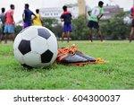 Soccer Equipment In Grass Field