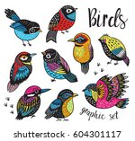 graphic set with hand drawn... | Shutterstock .eps vector #604301117