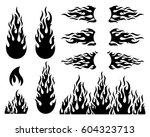 black vector fire flame design...