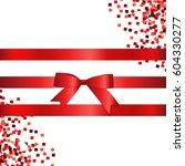 shiny red ribbon. vector... | Shutterstock .eps vector #604330277
