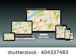 navigation template. gps map on ... | Shutterstock .eps vector #604337483