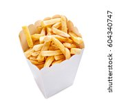 french fries in a  paper bag... | Shutterstock . vector #604340747