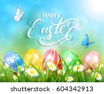 easter theme with a butterfly... | Shutterstock . vector #604342913