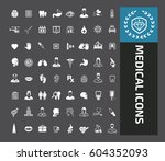 medical icon set clean vector | Shutterstock .eps vector #604352093