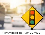 traffic light warning sign on... | Shutterstock . vector #604367483