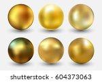 vector golden ball.realistic... | Shutterstock .eps vector #604373063