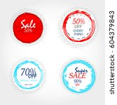 round social media sale banners ... | Shutterstock .eps vector #604379843