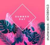 Trendy Summer Tropical Leaves Vector Design | Shutterstock vector #604380413