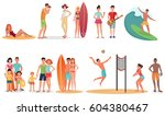 people and couples on vacation... | Shutterstock . vector #604380467