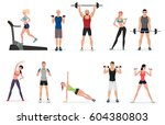 sport gym people set with... | Shutterstock . vector #604380803