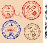 collection of london postal... | Shutterstock .eps vector #604382633