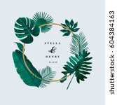 trendy tropical leaves vector... | Shutterstock .eps vector #604384163