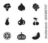 set of 9 editable dessert icons.... | Shutterstock .eps vector #604385747