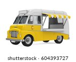 yellow food truck isolated. 3d... | Shutterstock . vector #604393727