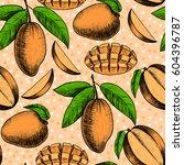 vector mango  hand drawn sketch....   Shutterstock .eps vector #604396787