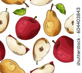 sketched fruits background.... | Shutterstock .eps vector #604403843