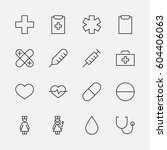 set of medicine vector line... | Shutterstock .eps vector #604406063
