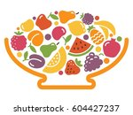stylized image of a bowl of... | Shutterstock .eps vector #604427237