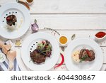 buffet food grill meat lunch... | Shutterstock . vector #604430867