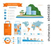 beach vacation infographics.... | Shutterstock .eps vector #604431083