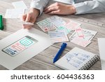 Small photo of ux designer designing designers web brand phone layout prototype