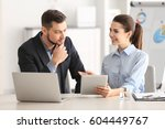 young managers discussing...   Shutterstock . vector #604449767