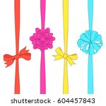 set of bows and ribbons on... | Shutterstock .eps vector #604457843