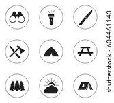 set of 9 editable travel icons. ... | Shutterstock . vector #604461143