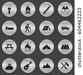 set of 16 editable trip icons.... | Shutterstock . vector #604462223