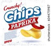 potato chips. package design.... | Shutterstock .eps vector #604475987