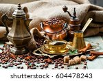 coffee in the oriental style... | Shutterstock . vector #604478243