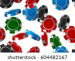 color casino chips falling... | Shutterstock .eps vector #604482167