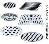 vector set of cover the drain | Shutterstock .eps vector #604491773