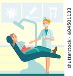 dentist and patient in dental... | Shutterstock .eps vector #604501133