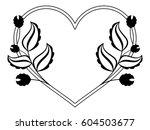 heart shaped black and white... | Shutterstock .eps vector #604503677