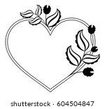 heart shaped black and white... | Shutterstock .eps vector #604504847
