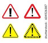 danger signs set on a white...   Shutterstock .eps vector #604526387
