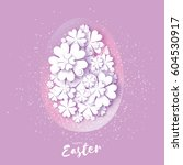 happy easter greeting card.... | Shutterstock .eps vector #604530917