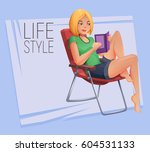 young girl sitting on folding... | Shutterstock .eps vector #604531133